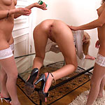 Nubile Blonde Takes Some Hardcore Fist Fucking From A Couple Of Lesbians In Stockings - Picture 11